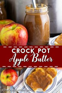 Crockpot Apple Butter is smooth, spiced, and tastes like apple pie! You would never guess just how easy it is to make and that it's actually healthy too! You can even cook it overnight and wake up to the scent of sweet cinnamon apples! This stuff is the BEST. Especially for Fall! Directions on how to make this apple butter recipe with no sugar, as well!