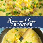 Cheesy Ham and Corn Chowder combines classic ham and cheese, with hearty potatoes and sweet corn into a warm and creamy chowder that is perfect for cold days.