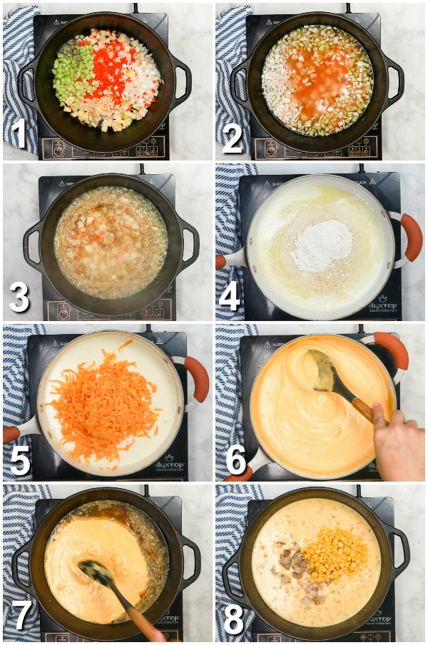 Collage of how to make cheesy ham and corn chowder
