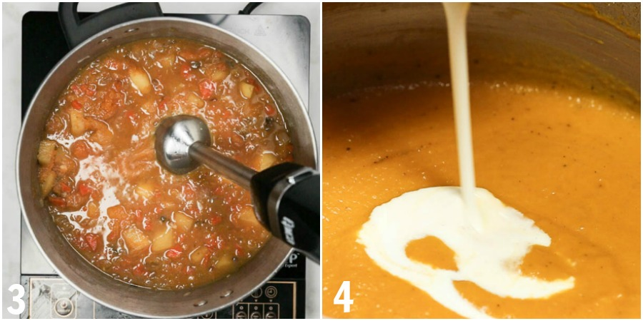 Butternut squash bisque being pureed with an immersion blender. Then cream being added to the smooth soup.