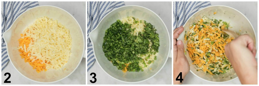 Collage of below steps of putting together cheese and herb mixture in a white mixing bowl