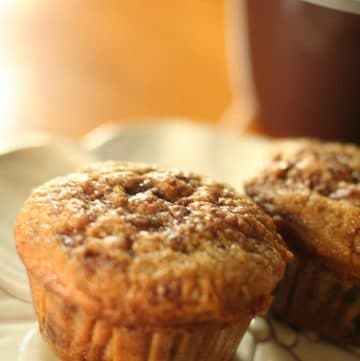 Coffee Toffee Muffins Recipe - an easy breakfast muffins recipe made with coffee and toffee. A perfect pick-me-up breakfast! You can make these for kids too using decaf coffee! From TheGraciousWife.com