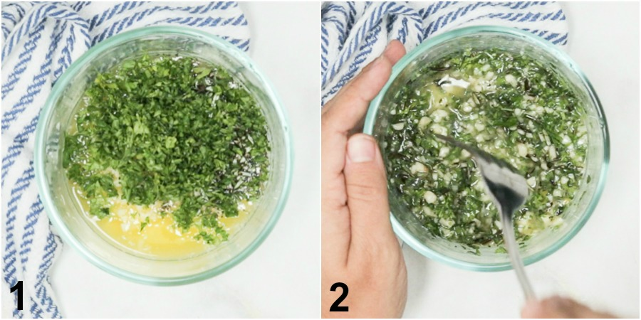 Photo collage of mixing together butter, garlic, and herbs in a small glass bowl