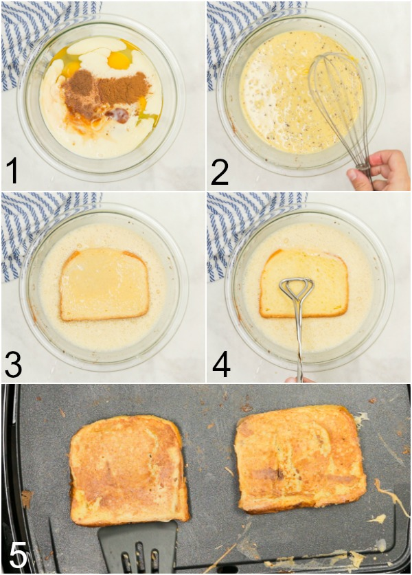 Collage of how to make eggnog french toast