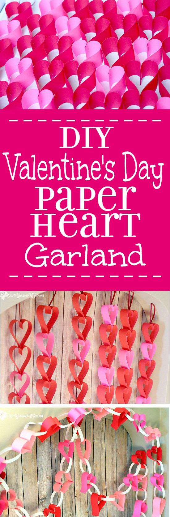 DIY Valentine's Day Heart Paper Garland - Easy and frugal DIY heart paper garlands for Valentine's Day decor. TWO different tutorials!