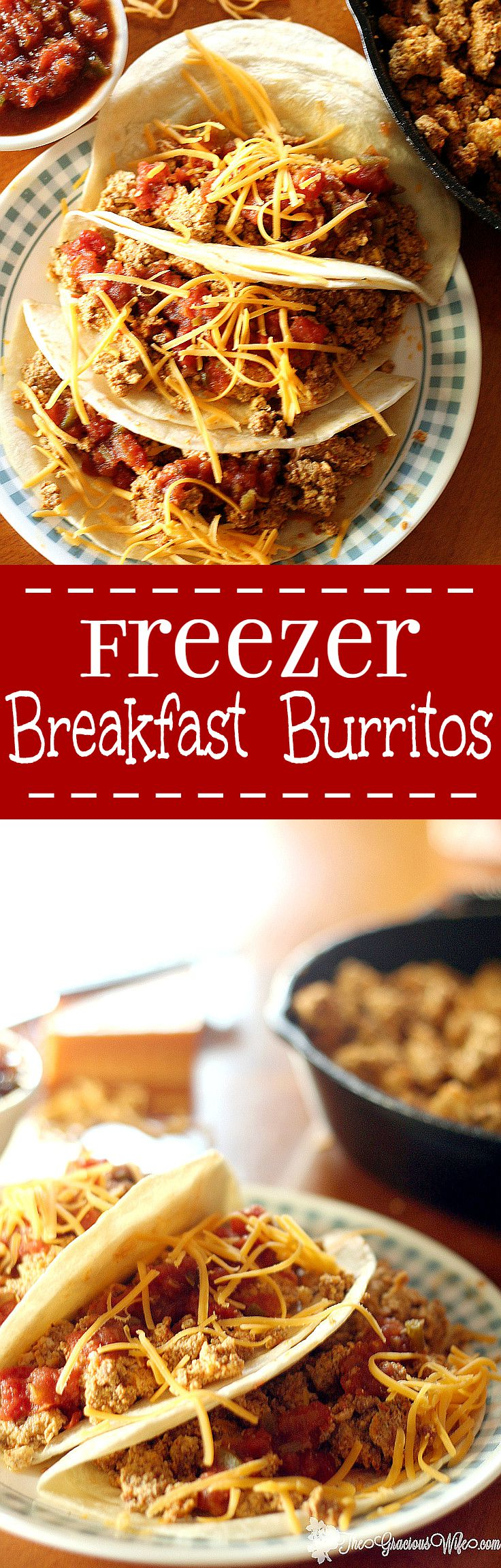 Freezer Breakfast Burritos Recipe - a quick and easy breakfast recipe idea that you can make ahead AND freeze. Eggs, spicy chorizo, and toppings like salsa or pico de gallo. One of our breakfast favorites!