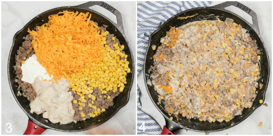 Collage of remaining ingredients including cheese, corn, sour cream, and cream of mushroom soup being added to the skillet and mixed to combine.