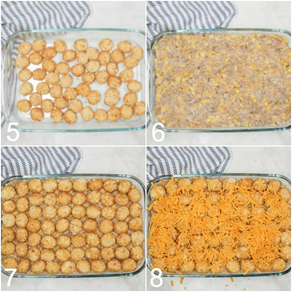 Collage of tater tot casserole being assembled with filling mixture, tater tots, and cheese