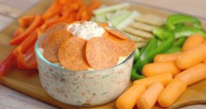 Hormel Pepperoni Italian Veggie Dip- a fresh spring veggie dip, packed with tons of flavor: pepperoni, cheese, and lots of veggies. #Spring #dip #veggies #ad #appetizer #PepItUp From TheGraciousWife.com