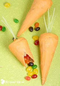 Surprise Inside Waffle Cone Carrots are a perfect Easter or Spring-time treat, and a fun idea for kids. These are so cute! Can't believe the supplies are so simple!