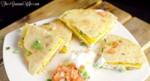 Breakfast Quesadillas with eggs, bacon, cheese, and green onions | From TheGraciousWife.com