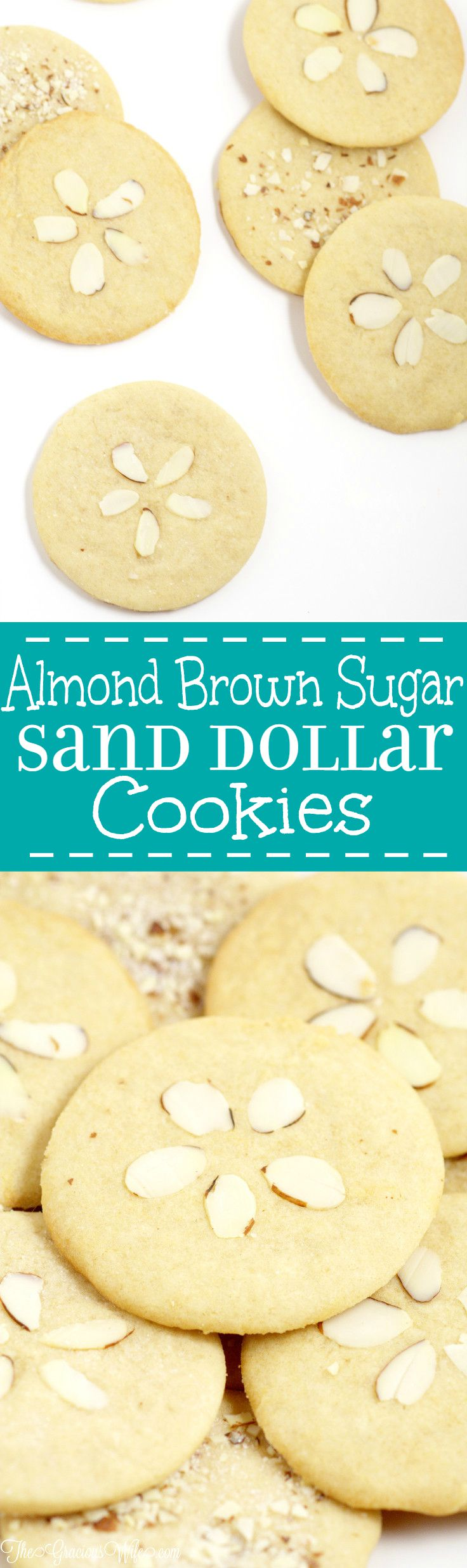 Almond Brown Sugar Sand Dollar Cookies Recipe - an easy cookies recipe from scratch. These are just like sugar cookies, only better!