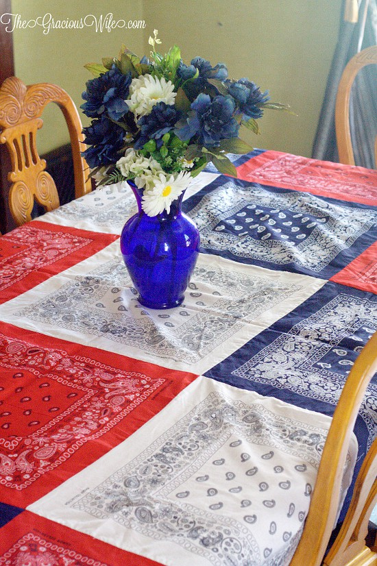 How To Make An Easy DIY Bandana Tablecloth   This Easy Patriotic Red, White,