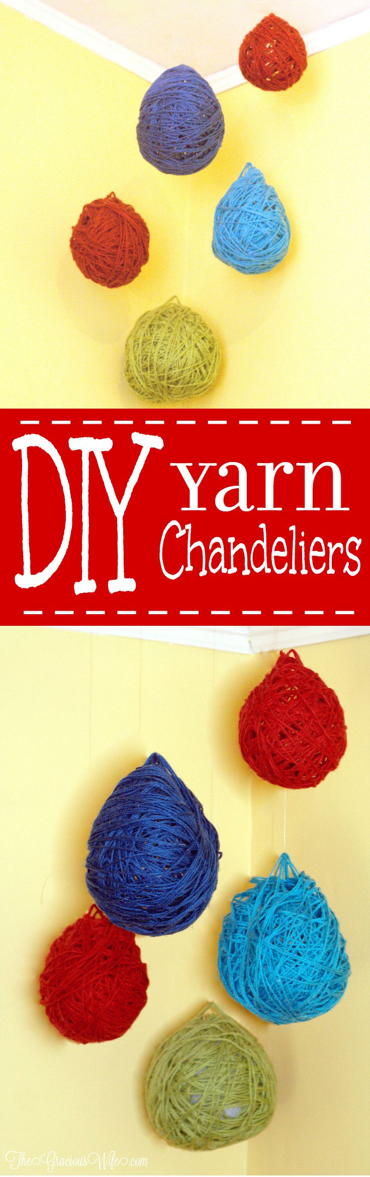 DIY Yarn Chandeliers are a fun and easy DIY craft that is perfect for DIY home decor in any room of your house and also super cute for a party. | diy crafts | diy home decor