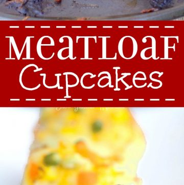 """Savory meatloaf cupcakes recipe made with the BEST meatloaf recipe and topped with ketchup, mashed potato """"frosting"""" and cheese and veggie """"sprinkles."""" A delicious single serving family dinner recipe idea. This would be a good idea for an appetizer recipe for a party too. You could bake them in mini muffin trays!"""