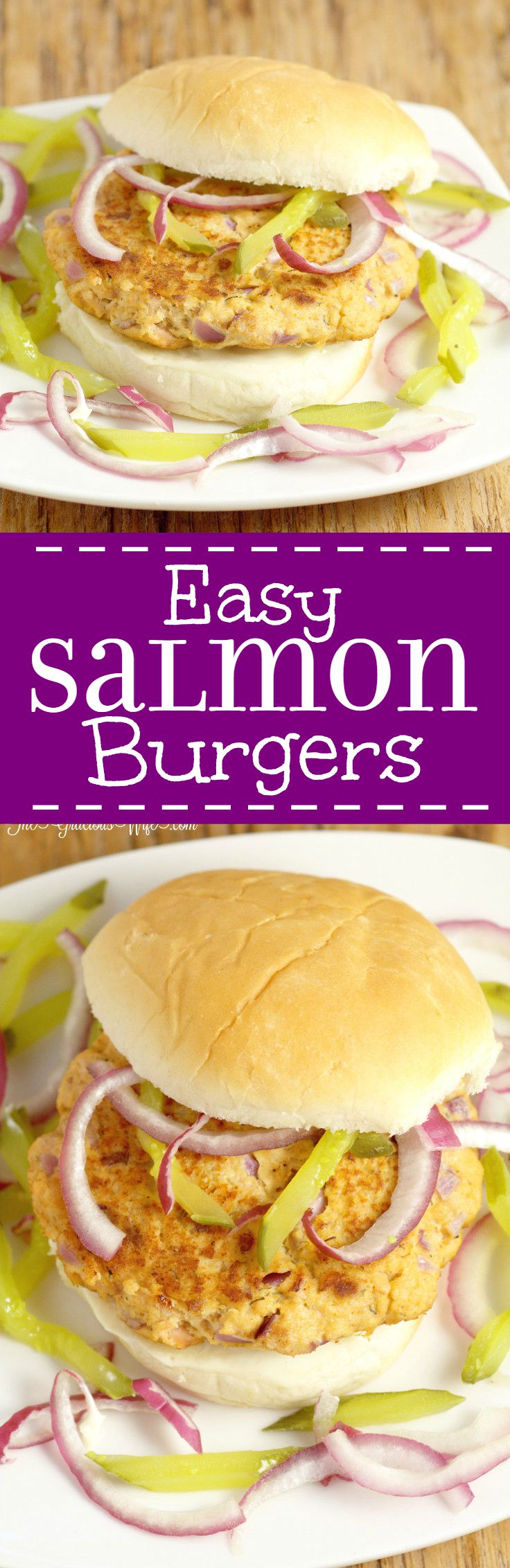 This easy Salmon Burgers recipe is a delicious burger made with salmon fillets and hints of lemon, dill, and mustard, topped with a simple pickle and red onion relish. A quick and easy healthy dinner recipe for the whole family. This relish was so good I couldn't get enough of it!
