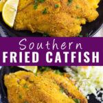"Collage of fried catfish with a stack of fried catfish next to lemon wedges on the top and a single fried catfish filet next to coleslaw on the bottom with the words ""Southern Fried Catfish"" in the center."