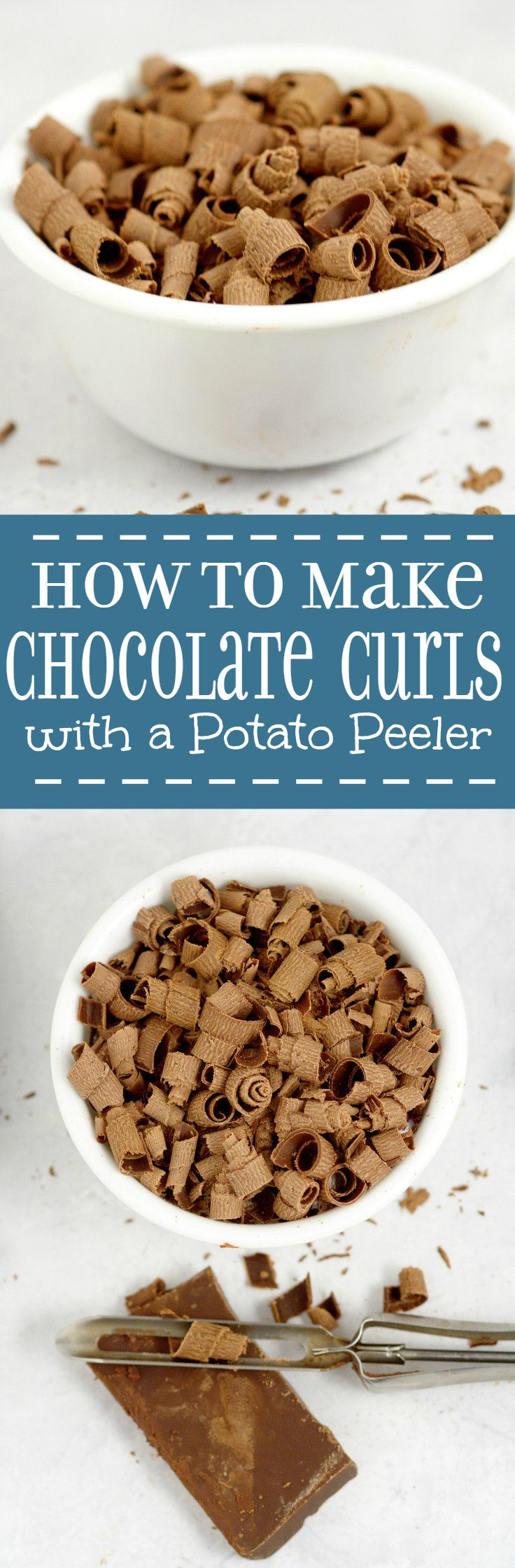 Learn how to make chocolate curls with a potato peeler the easy way for beautiful chocolate curls to complement your desserts!  cooking tips | baking tips | kitchen tips