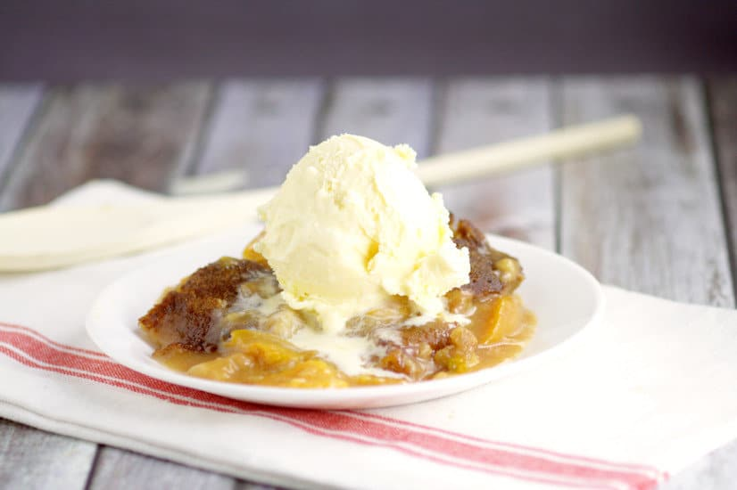 Crockpot Peach Cobblerrecipe with warm spiced peaches and a simple, sweet cobbler, topped with a crunch cinnamon-sugar topping in the slow cooker for a super fabulous and easy crockpot dessert recipe. Top with ice cream for an amazing dessert. Peach cobbler is one of my favorites!