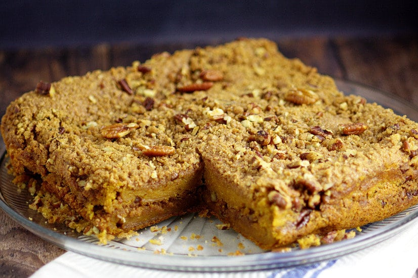 Rich and moist Pumpkin Cinnamon Coffee Cake recipe made with pumpkin pie yogurt, pumpkin, and a crunchy cinnamon-pecan streusel for an amazing Fall breakfast recipe. Also freezer friendly! OMG. Pumpkin spice for breakfast?!