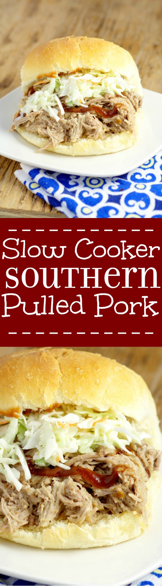 Easy, tangy Slow Cooker Southern Pulled Porkrecipe cooked effortlessly in the Crockpot. Top with creamy coleslaw for a bit of sweet crunch and a true Southern experience! This is seriously one of my favorite recipes of all time!