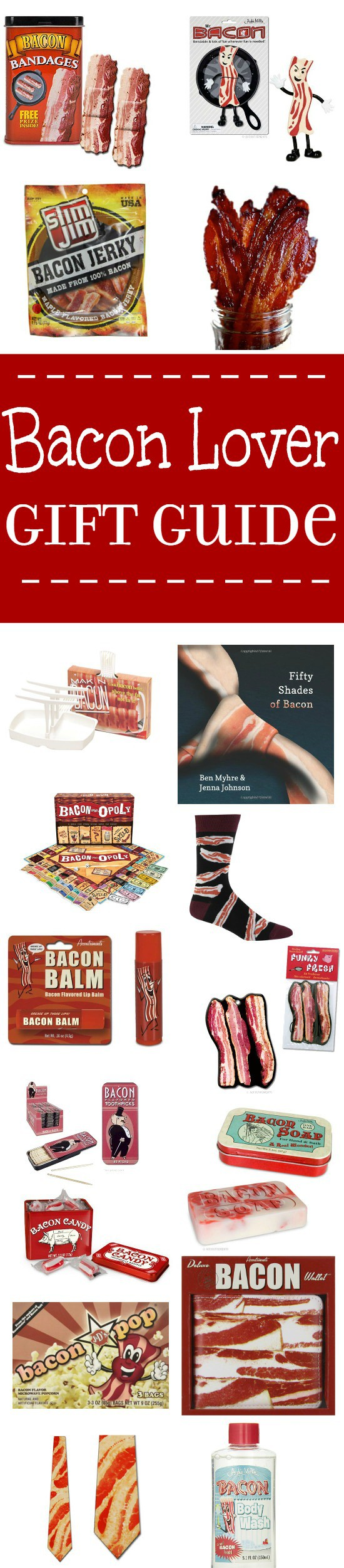 Top 22 gifts that are perfect for the Bacon Lover in your life.  Bacon Lover gift ideas that are great for the holidays and Christmas gift ideas featuring bacon, bacon, and more BACON! Okay, who doesn't love bacon?!  These fun bacon lover gift ideas and trinkets are great for anyone on your list! I mean, what bacon lover doesn't want bacon lip balm and bacon body wash? (Okay, some of these might also make fun white elephant gifts too!)