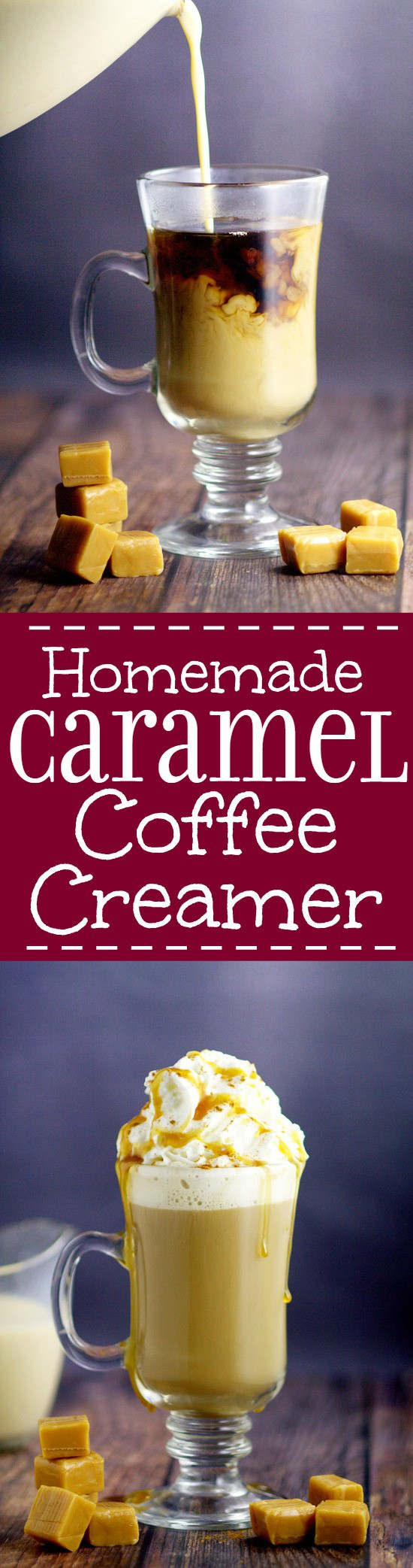 Smooth, creamy, and sweet Homemade Caramel Coffee Creamer recipe in your hot morning coffee is the perfect way to start the day! Oh my! This is seriously amazing!