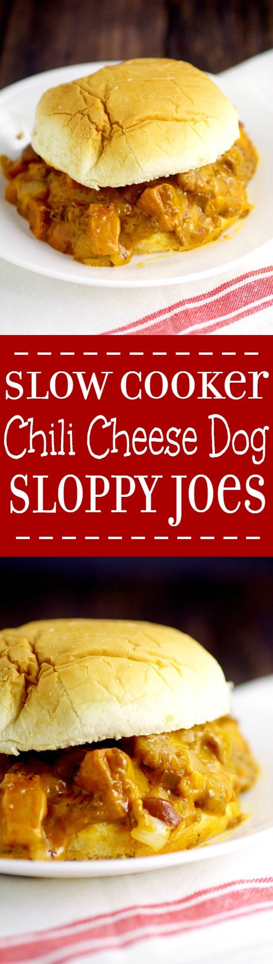 Easy Family Dinner Recipe - Slow Cooker Chili Cheese Dog Sloppy Joes.  Classic chili cheese dogs and sloppy joes join forces in these Slow Cooker Chili Cheese Dog Sloppy Joes to make a gooey, cheesy, cozy, comfort food meal in the Crockpot.  OMG. This looks amazing!
