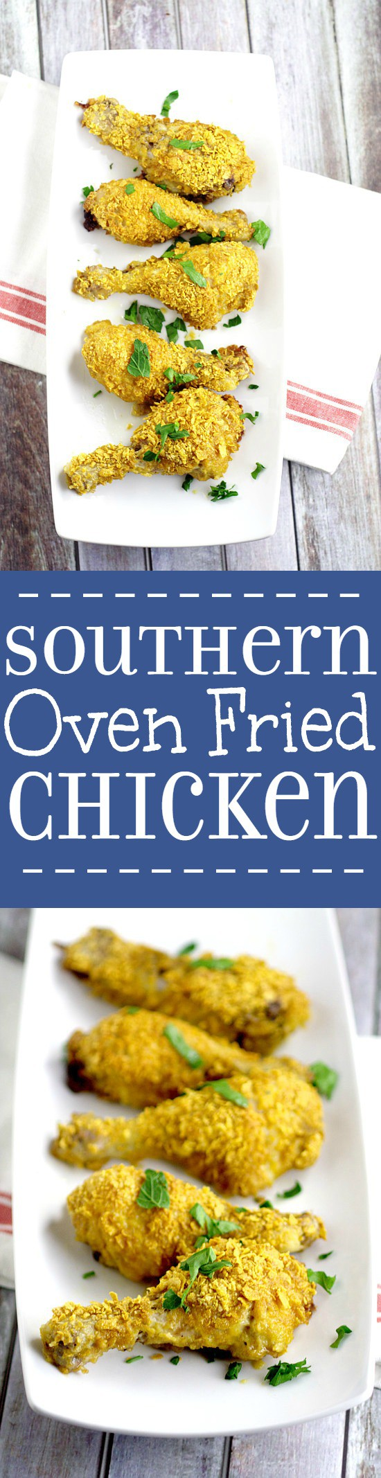Southern Oven Fried Chicken for an easy family dinner idea. Quick prep and easy to make, this authentic Southern Oven-Fried Chicken is the perfect family dinner. Crunchy, juicy flavorful breaded chicken baked in the oven. This looks amazing!