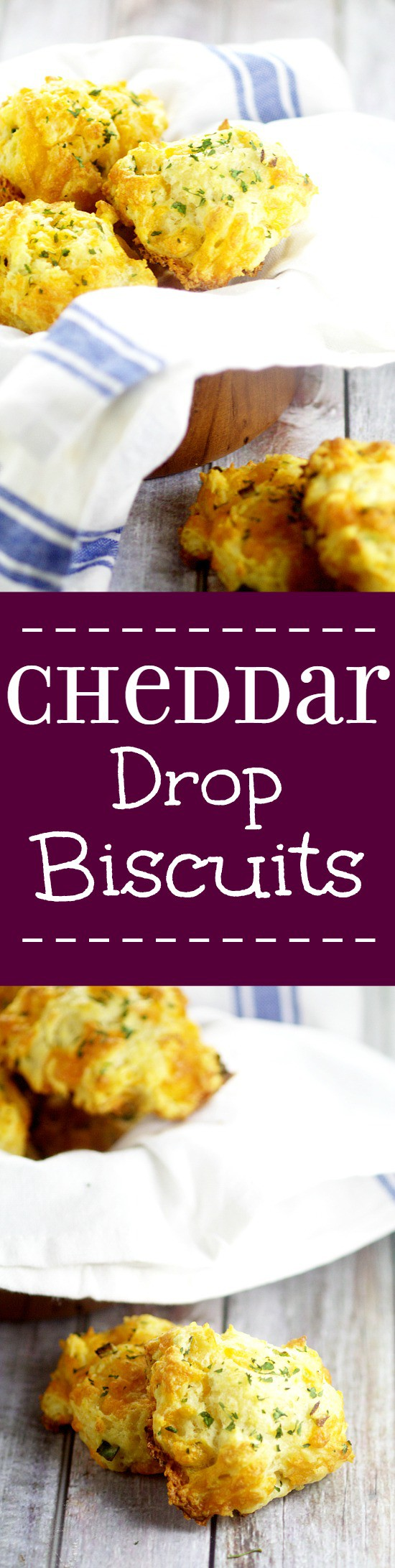 Easy, cheesy Cheddar Drop Biscuits with lots of gooey cheddar cheese and green onions put a delicious twist on your average biscuit and take just 30 minutes to make! Perfect easy side dish recipe to go with any dinner or meal.