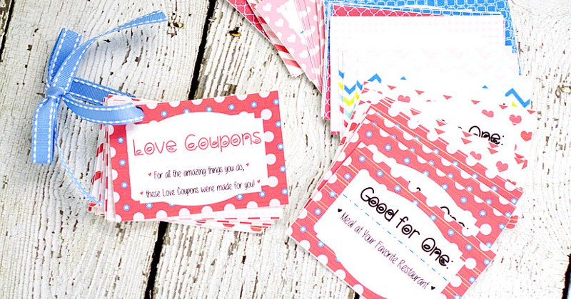 FREE DIY Printable Love Coupon Book for Him makes a perfect, loving gift for your sweetheart for Valentine's Day or even birthdays and anniversaries! Make a Love Coupon Book with 54 love coupons to choose from, some naughty and some nice. Tutorial with entire book printable for you to print!