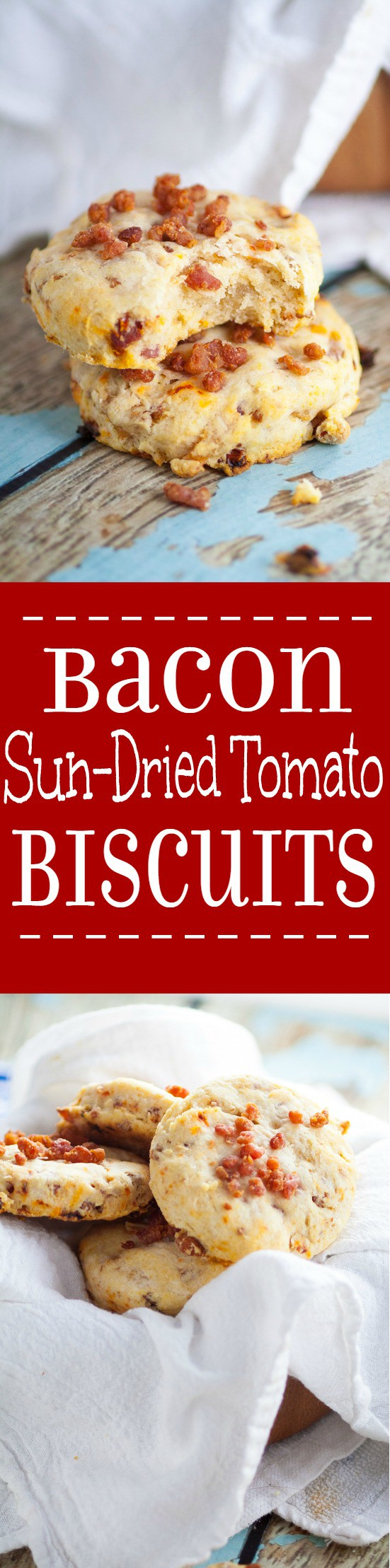 Bacon and Sun Dried Tomato Biscuits make a delicious and easy side dish recipe.  Even better than a traditional biscuits, these Bacon and Sun Dried Tomato Biscuits are flaky and golden with pops of zesty flavor from sun-dried tomatoes and bacon.