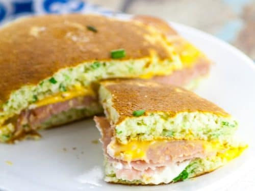 Chive Ham And Cheese Pancake Sandwiches The Gracious Wife