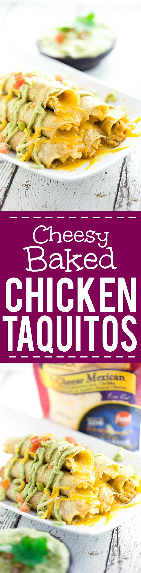 Cheesy Baked Chicken Taquitos recipe - Easy and cheesy Baked Chicken Taquitos will become a yummy, Mexican-inspired family dinner favorite in no time! Serve with the Roasted Creamy Poblano Dip for an extra zesty and a little spicy kick. These look amazing! So cheesy!