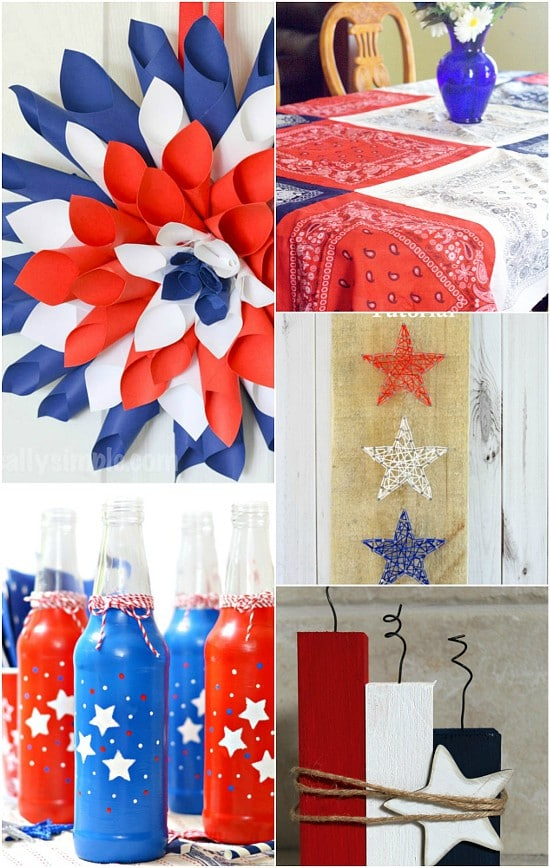 DIY Patriotic Decorations ideas that are frugal and easy! Make your home bright and festive this Summer with these Americana red, white, and blue DIY Patriotic Decorations ideas! Perfect home decor for Summer or all year long!  Oh, I love these! So festive and cute for Summer. Plus cheaper to make it yourself!