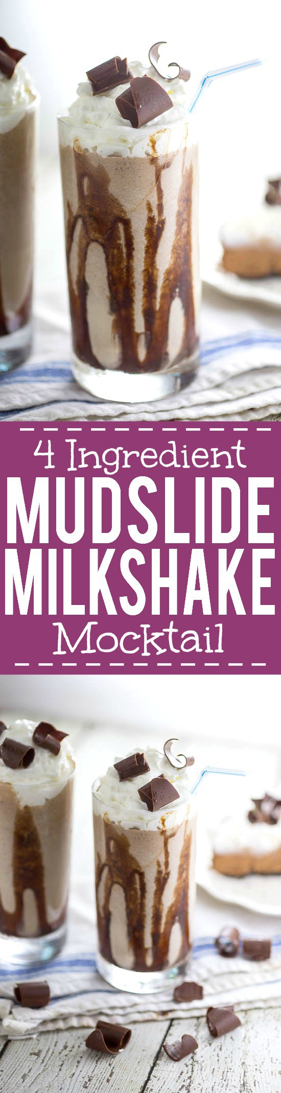 Mudslide Milkshake Mocktail Recipe - Calling all chocolate lovers! Everyone who loves chocolate will adore this quick and easy Mudslide Milkshake Mocktail recipe! Make it in just 10 minutes with 4 ingredients! Yum!