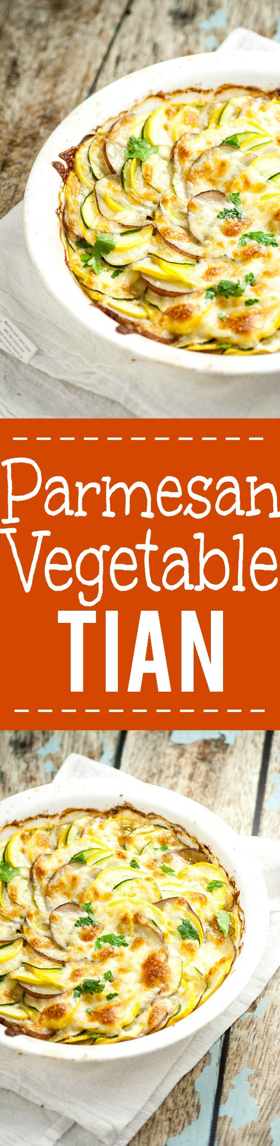 Parmesan Vegetable Tian Recipe - A classic and a favorite, this Parmesan Vegetable Tian recipe uses Summer vegetables, onions, and garlic baked together in the oven and topped with melted, golden Parmesan cheese for an amazing easy side dish recipe that's perfect for Summer and guests.  Yum! Seriously, my favorite.