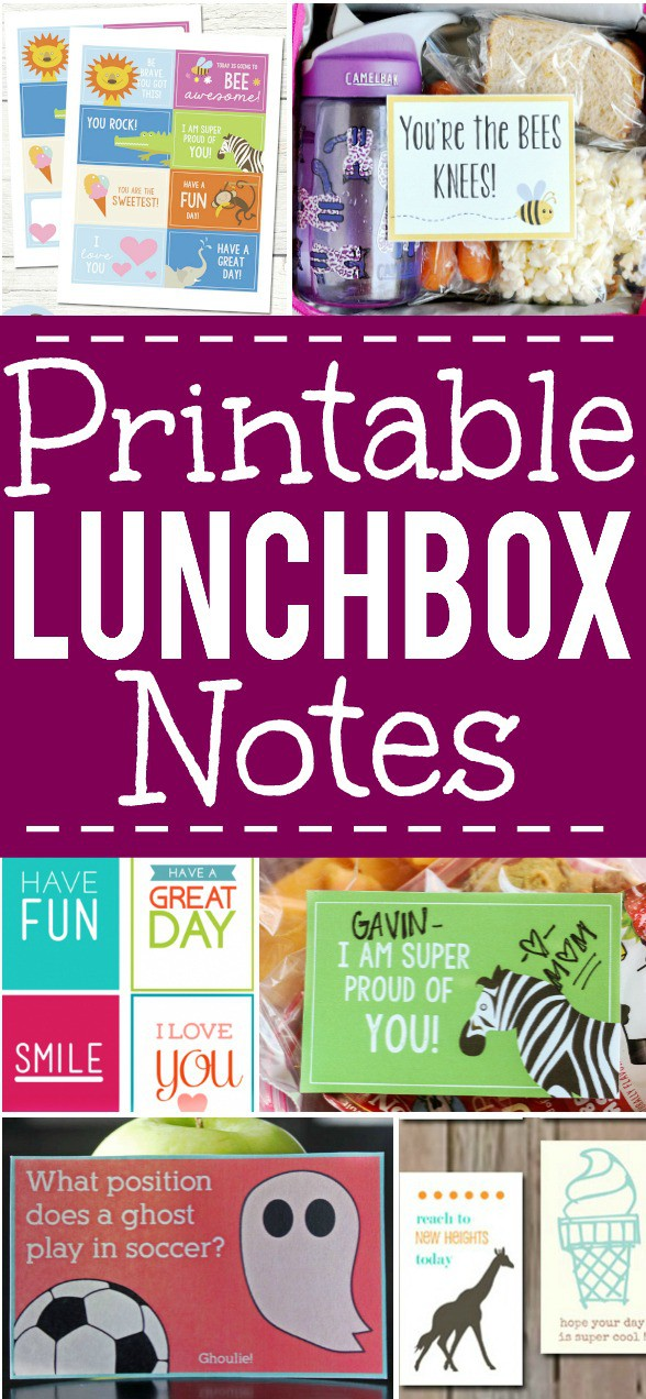 Free Printable Lunch Box Notes for Kids - Add a special, personal touch to your child's lunch to remind them you're thinking of them with these free Printable Lunchbox Notes for Kids.