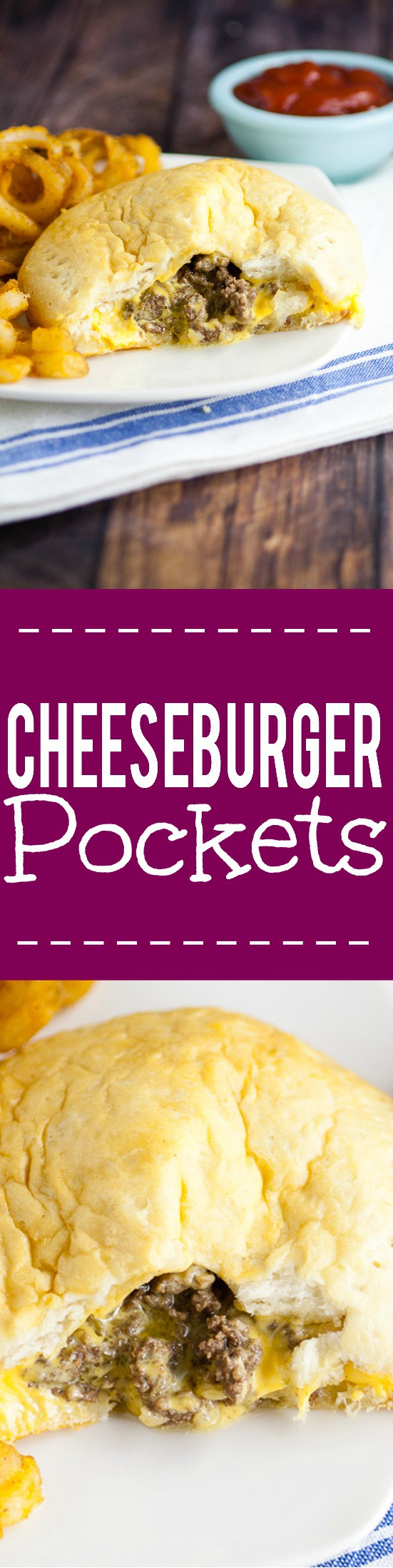 Cheesburger Pockets Recipe -Made in just 30 minutes with 5 ingredients, this cheesy Cheeseburger Pockets recipe is the ultimate yummy, quick and easy family dinner recipe. It's even great for on-the-go! Love this! Kind of like a homemade hot pocket