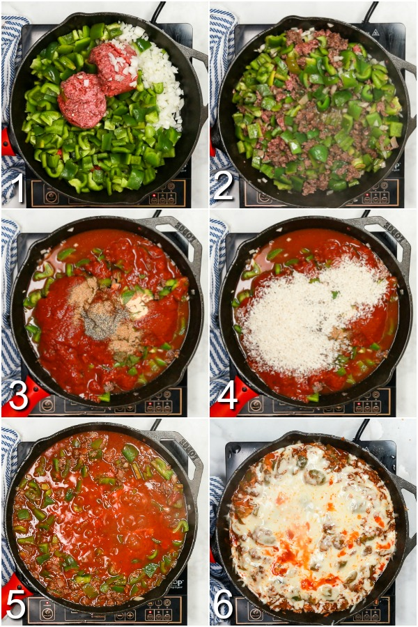 Collage of how to make unstuffed peppers