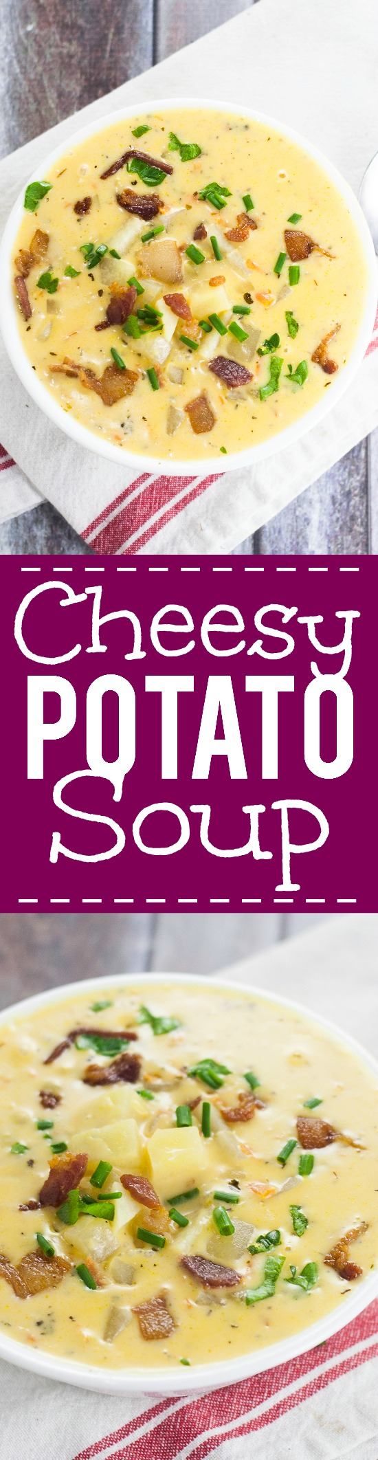 Cheesy Potato Soup Recipe - Warm and creamy Cheesy Potato Soup recipe is a deliciously perfect classic comfort food recipe to keep you warm and happy all winter long. Yummmm! One of my all time favorite delicious soup recipes. Ever.