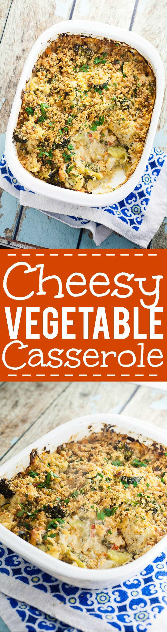 Cheesy Vegetable Casserole Recipe - Whether you use fresh or frozen vegetables, this Cheesy Vegetable Casserole recipe is perfect for potlucks and using up your favorite vegetables. I know what I'm bringing to our next potluck!