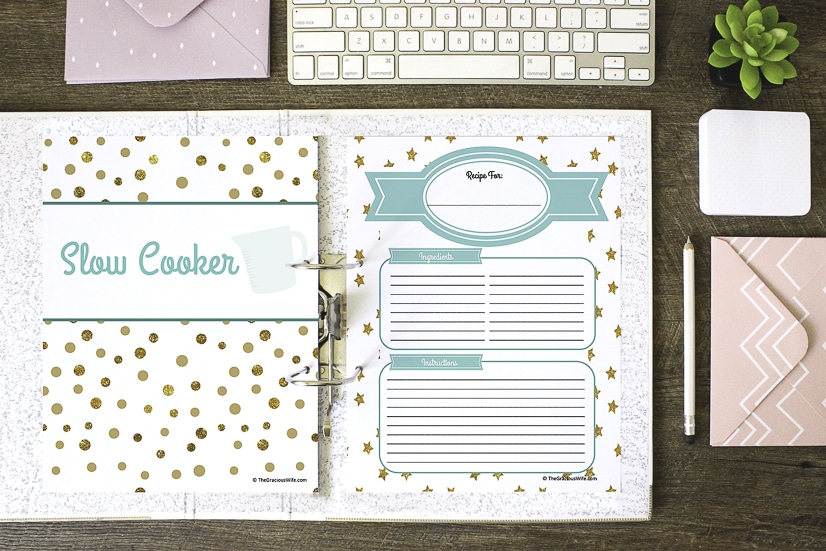 It is an image of Free Printable Recipe Binder Kit regarding floral recipe