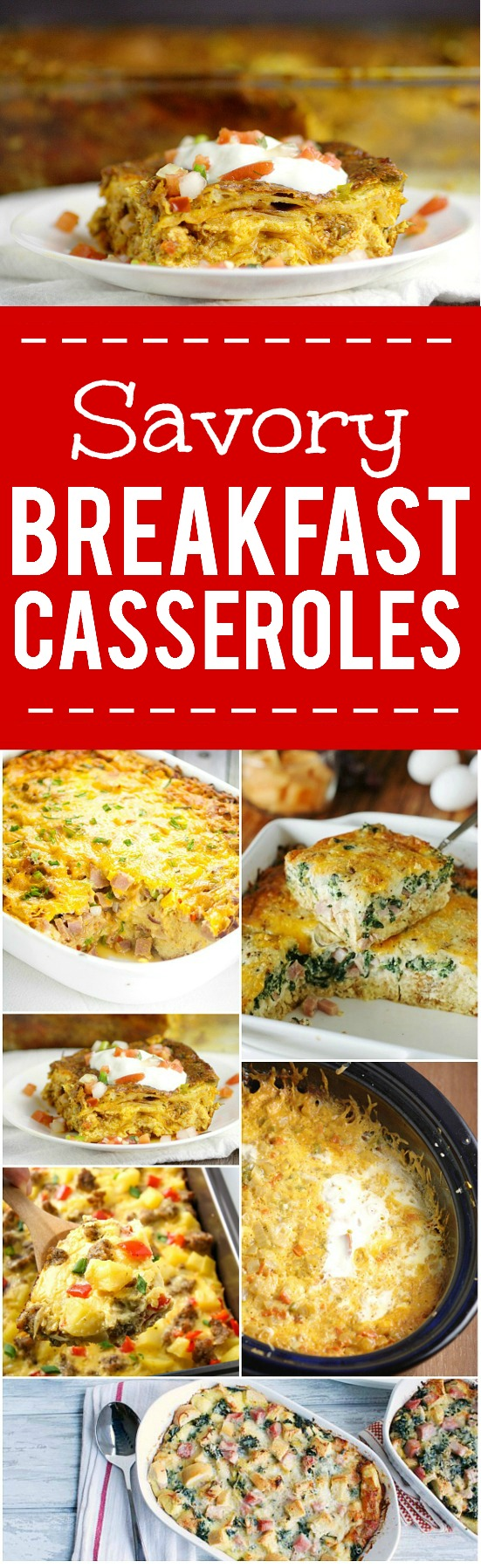 44 Savory Breakfast Casserole Recipes - 44 of the BEST Savory Breakfast Casserole Recipes for all the savory flavor lovers out there. Overnight breakfast casseroles, bacon, eggs, sausage, or veggies, there's something for everyone! There's some great make ahead and overnight breakfast recipes for Christmas and Easter here!