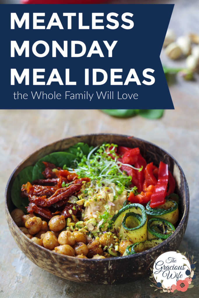 "Veggie bowl with chickpeas and rice with the words ""Meatless Monday Meal Ideas the Whole Family Will Love"" above it."