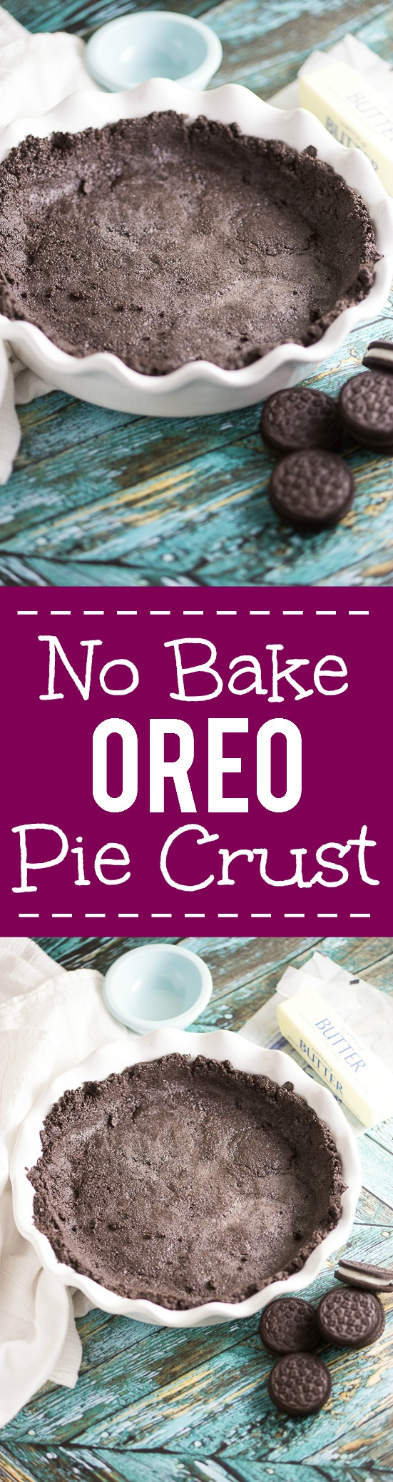 No Bake Oreo Cookie Pie Crust - This chocolate, easy Oreo crust recipe is simple and delicious, with just 2 ingredients. Perfect way to make your favorite no bake pie or cheesecake even more fabulous! Such an easy pie crust recipe and so yummy!