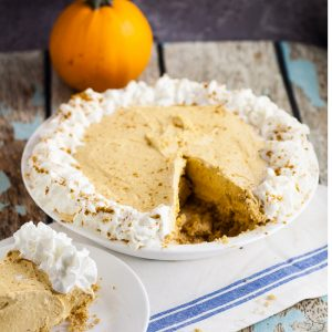 Pumpkin Silk Pie Recipe -Easy, no bake Pumpkin Silk Pierecipe has the silken creaminess of French silk pie, the tang of cheesecake, and the rich deliciousness of pumpkin. Make it in just 25 minutes!