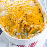 Sweet Potato Turkey Shepherd's Pie recipe with mashed sweet potatoes and turkey and veggies in a creamy gravy. Cozy, sweet and savory, this Sweet Potato Turkey Shepherd's Pie recipe is a great way to use up Thanksgiving leftovers in a warm delightful casserole.