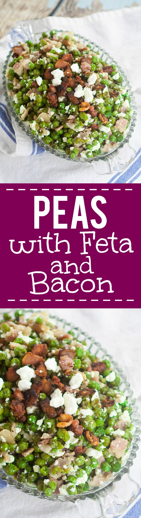 Feta Bacon Peas Recipe - Peas cooked with salty crunchy bacon then tossed with tangy, creamy Feta cheese for a delightful, unique side dish. Make this Feta Bacon Peas quick and easy side dish recipe in just 20 minutes!