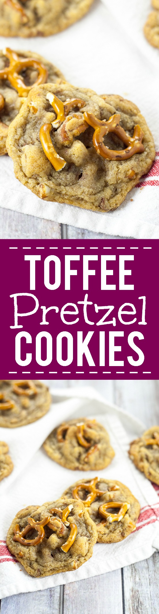 Toffee Pretzel Cookies Recipe - Chewy, gooey Toffee Pretzel Cookies recipe with crunchy and sweet toffee bits and salty pretzel pieces for a salty-sweet flavor all inside a classic chewy cookie. Love that these have some yummy Fall flavors but would also be perfect for a Christmas cookies recipe exchange.
